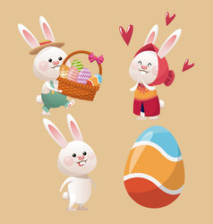 Collection bunny easter egg vector