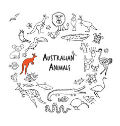 Australian animals set sketch for your design vector