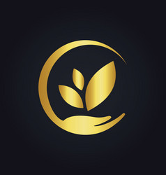 Save ecology bio nature gold logo vector