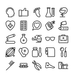 Medical health and hospital line icons 4 vector