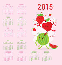calendar 2015 fruit cute cartoon vector image