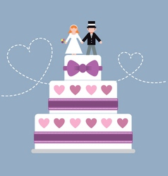 Wedding cake purple ribbon vector