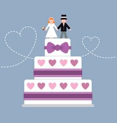 Wedding cake purple ribbon vector image
