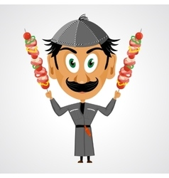 Faunny cartoon georgian holding kebab vector