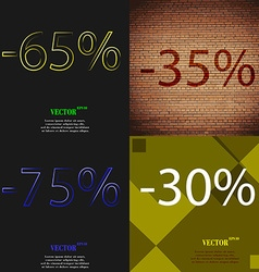 35 75 30 icon set of percent discount on abstract vector