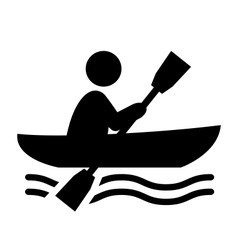 Summer water sport pictogram row on boat flat vector