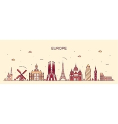 Europe skyline detailed silhouette line art style vector