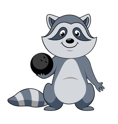 Cartoon raccoon player with bowling ball vector