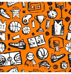 Basketball seamless pattern sketch for your vector