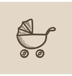 Baby stroller sketch icon vector