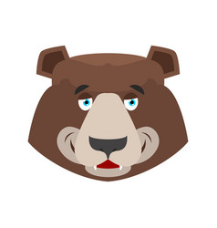 bear happy emoji grizzly merry emotion face wild vector image vector image