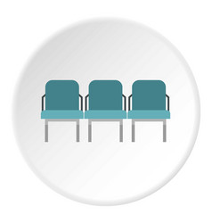 Blue airport seats icon circle vector