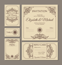 calligraphic vintage floral wedding cards vector image