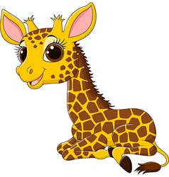 Cartoon funny giraffe sitting isolated vector image vector image