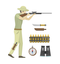 cartoon of hunter aiming rifle vector image vector image