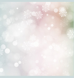 Christmas card with glowing snowflakes and bokeh vector