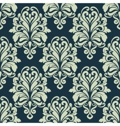 Green retro floral arabesque seamless pattern vector