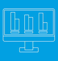 Growing business graph at computer screen icon vector