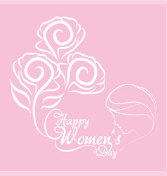 Happy womens day bunch flowers girl vector
