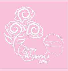 Happy womens day bunch flowers girl vector