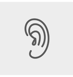 Human ear thin line icon vector