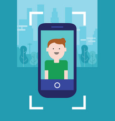 Man photo face on camera screen mobile smart-phone vector