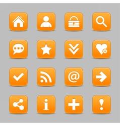 Orange satin icon web button with white basic sign vector