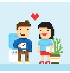 Pixel art game style office colleagues in love vector