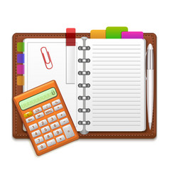 Realistic organizer notebook color stickers and vector