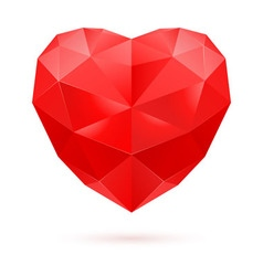 Red polygon heart vector image vector image