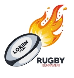 rugby goal tournament with flames graphic vector image