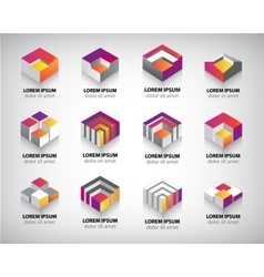 Set of colorful geometric 3d cube vector