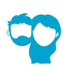 silhouette couple lover head with closed eyes and vector image