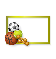 Soccer tennis basketball balls dumbbells frame vector