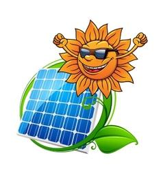 Solar energy panel and sun vector