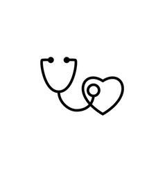 stethoscope with heart icon on white background vector image vector image