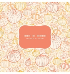 Thanksgiving line art pumkins frame seamless vector