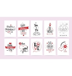 Valentines Day greeting cards 10 set vector image vector image