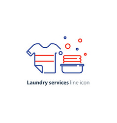 Washing clothes laundry mono line icon t-shirt and vector