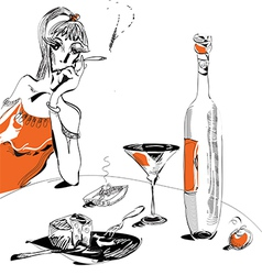woman and wine vector image