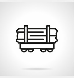 wood rail-car simple line icon vector image vector image