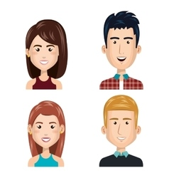 Young people set avatars vector