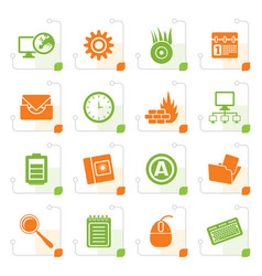 Stylized computer mobile phone and internet icons vector