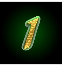 Golden and green letter 1 vector