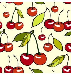 Seamless pattern with decorative cherries vector image