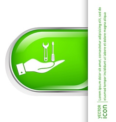 Hand holding a symbol settings sign screwdriver vector