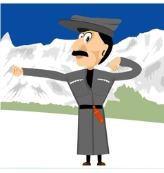 Georgian dancing in mountains vector