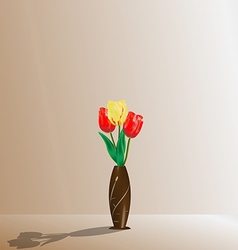 Tulips in a wooden vase vector