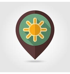 Sun retro flat pin map icon Meteorology Weather vector image