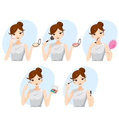 Young Woman Makes Up With Various Actions Set vector image